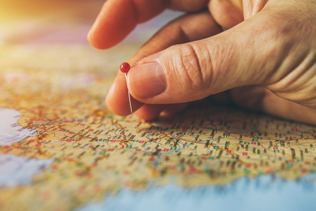 geographical map pins