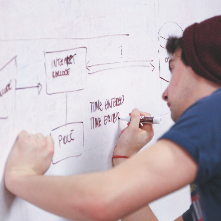 strategy building on a white board